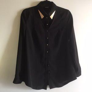Modailgi cutout blouse black gold small button up